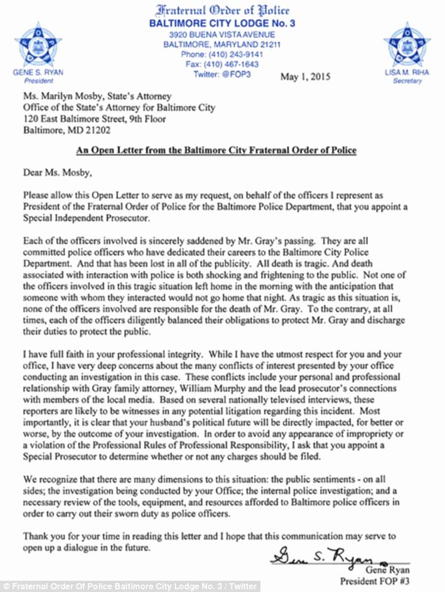 Conflict Of Interest Letter New Marilyn Mosby Should Step Down Over Links to Fred Gray