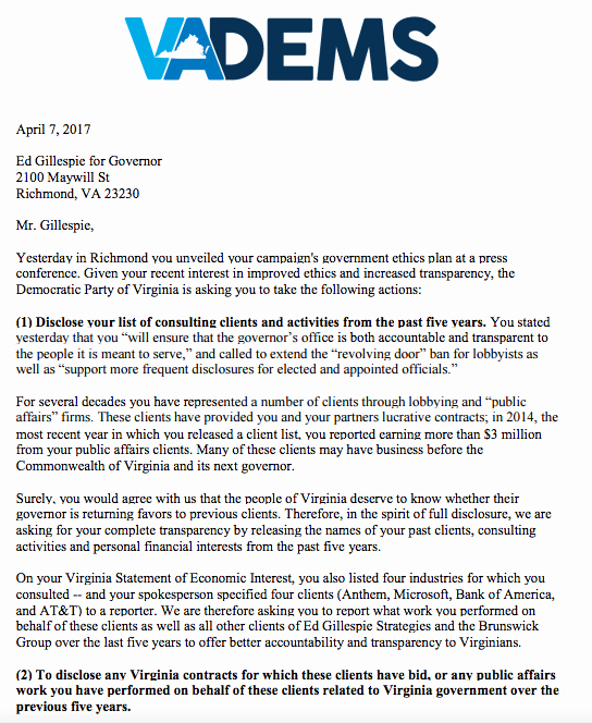 Conflict Of Interest Letter Unique Dpva Sends Letter to Gillespie Calling On Him to Disclose