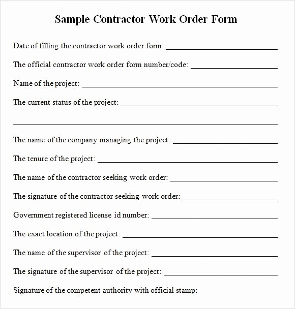 Construction Change order Template Word New Sample Contractor Work order forms