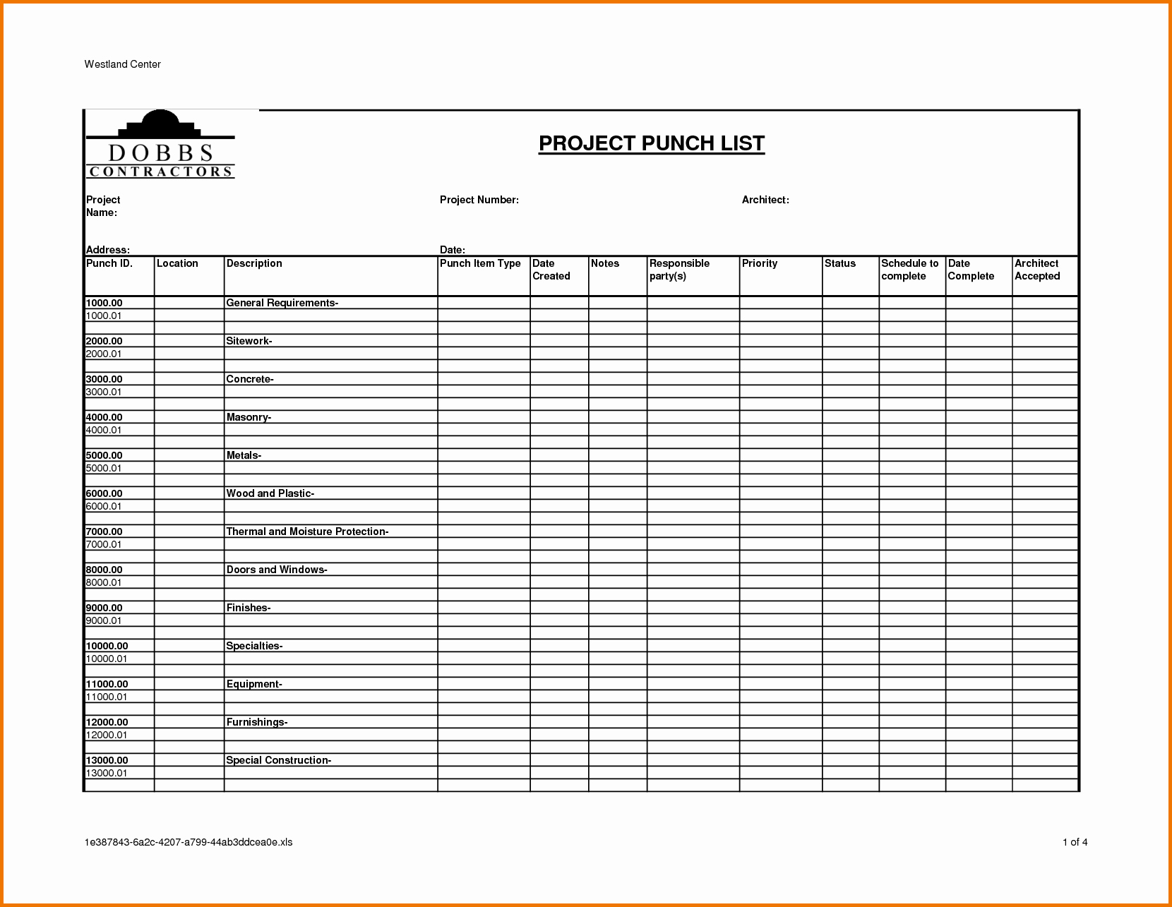 construction project punch list template 712