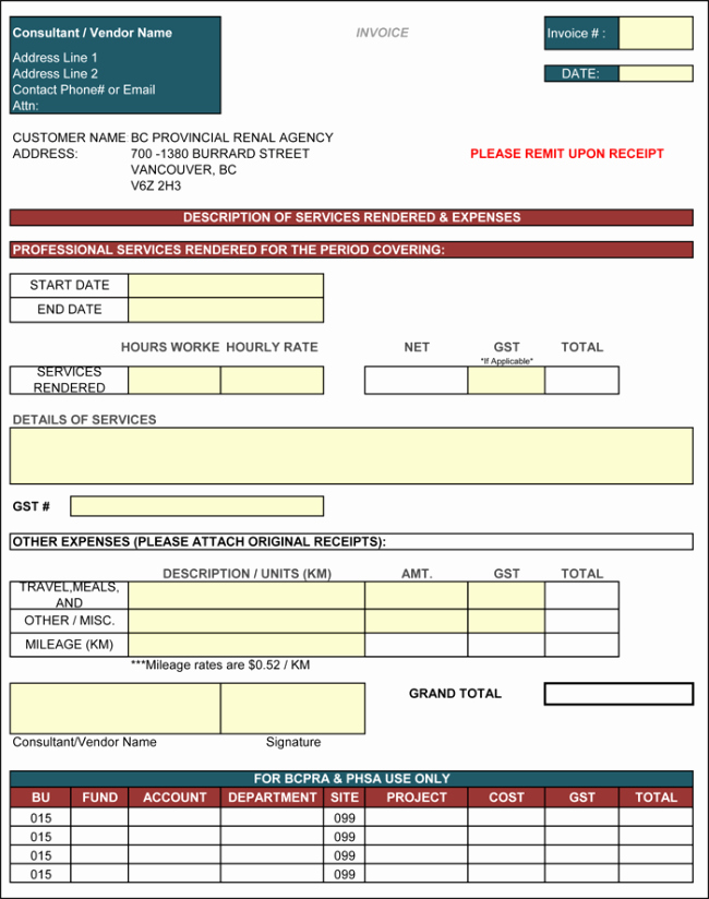 Consulting Invoice Template Word Elegant Contractor Invoice Template 6 Printable Contractor Invoices