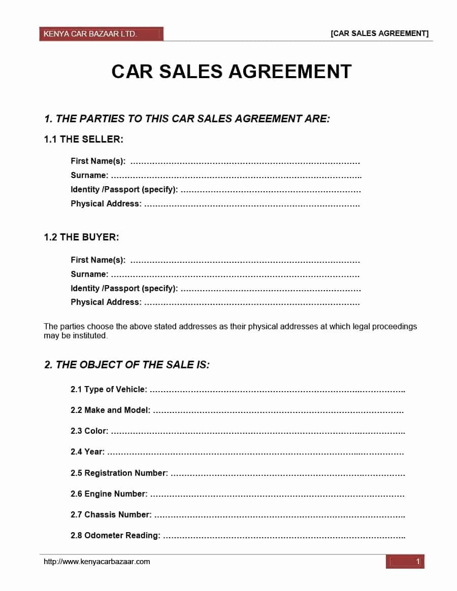 Contract for Buying A Car Awesome Car Resale Agreement format Detail Purchase and Sales