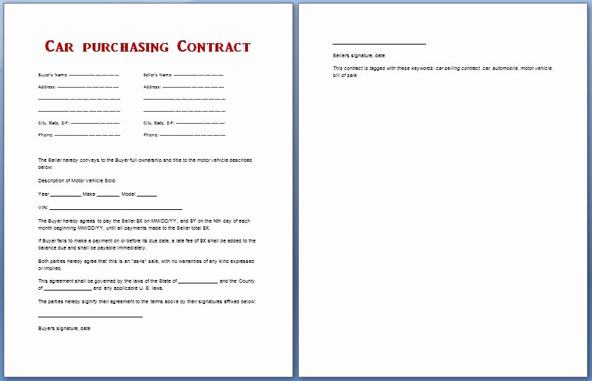 Contract for Buying A Car Beautiful Car Purchase Contract
