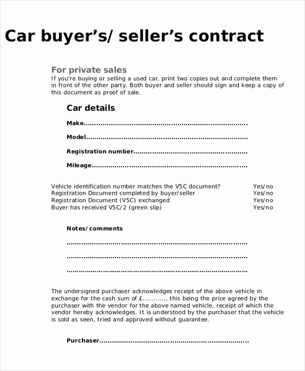 Contract for Buying A Car Best Of 9 Purchase Agreement Samples