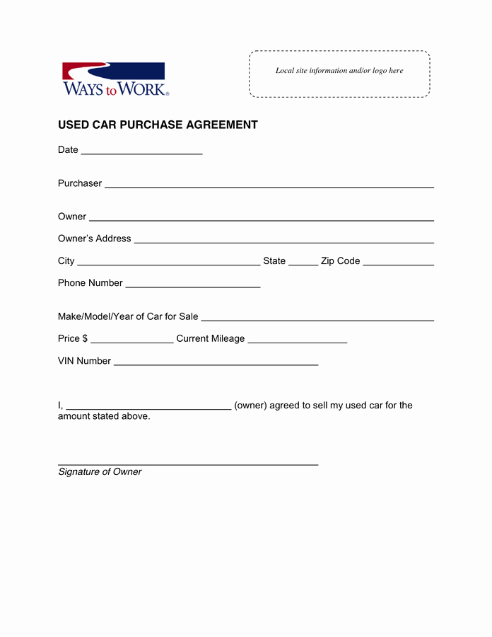 Contract for Buying A Car Best Of Used Car Purchase Agreement In Word and Pdf formats