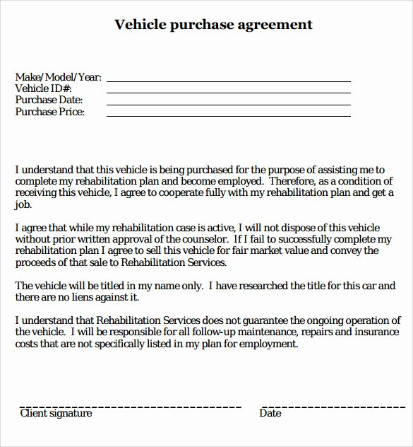 Contract for Buying A Car New 16 Sample Vehicle Purchase Agreements