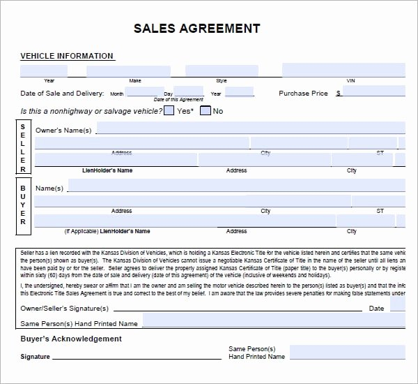 Contract for Buying A Car New 6 Free Sales Agreement Templates Excel Pdf formats