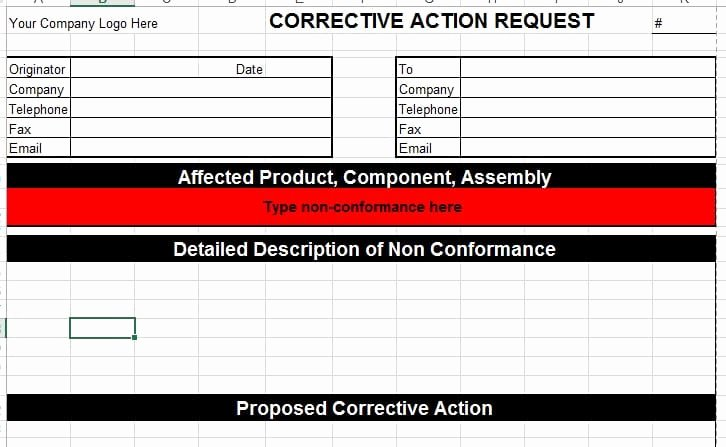 Corrective Action Preventive Action Template Awesome Corrective Action Template for Microsoft Excel