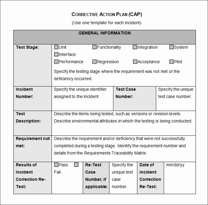 Corrective Action Preventive Action Template Lovely Corrective Action Plan Template 22 Free Word Excel