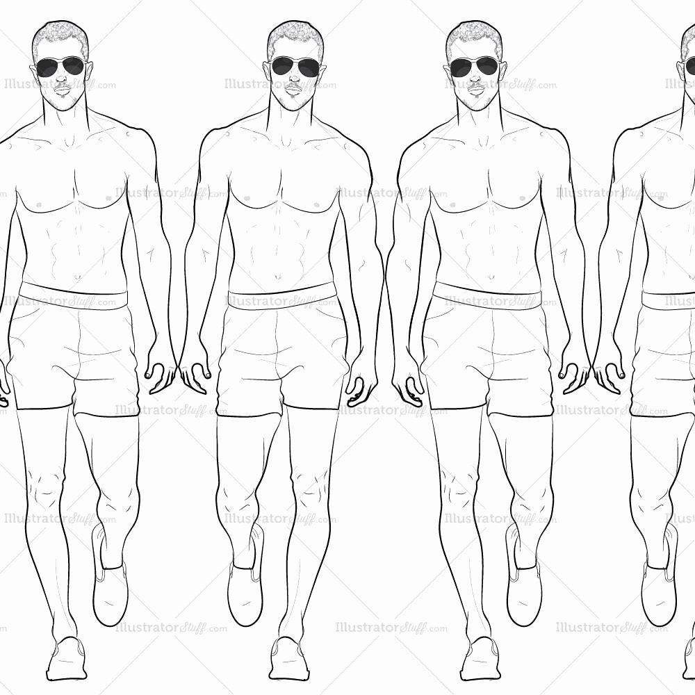 Costume Design Template Male Beautiful Male Runway Croquis Template Jake – Illustrator Stuff