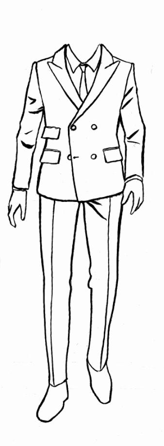 Costume Design Template Male Elegant Suit