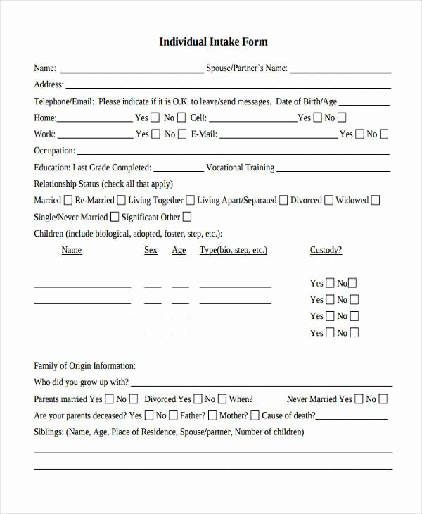 Counseling Intake form Template Awesome 38 Counseling forms In Pdf