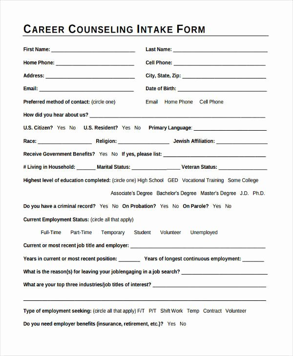 Counseling Intake form Template Beautiful 38 Counseling forms In Pdf