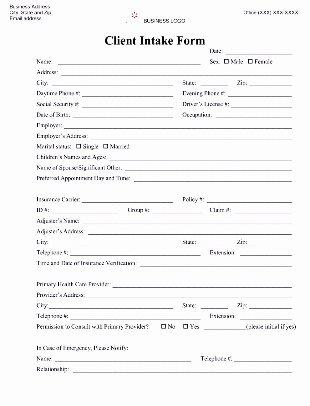 Counseling Intake form Template Elegant 6 Counselling Referral form Template Uyefi