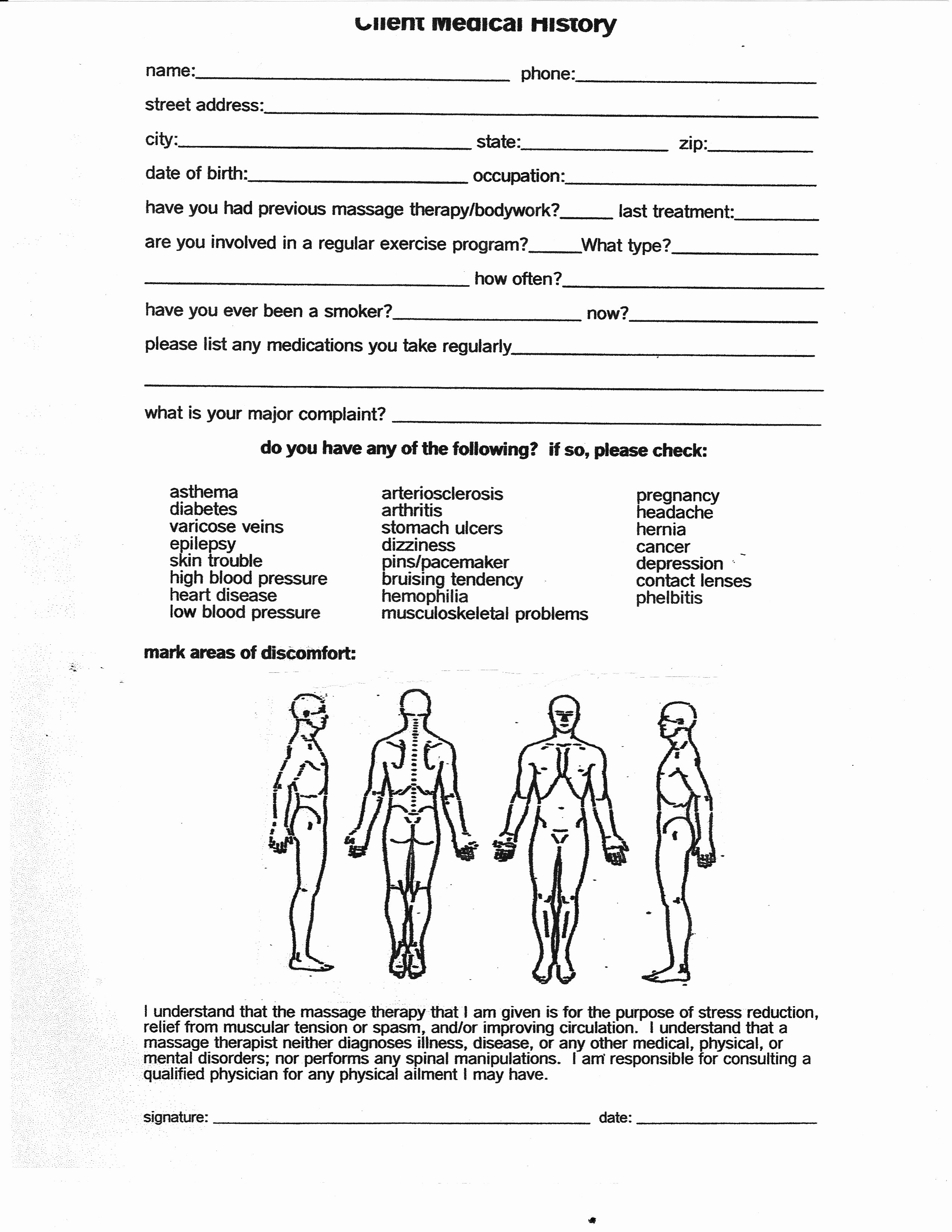 Counseling Intake form Template Fresh Intake form for Massage therapy
