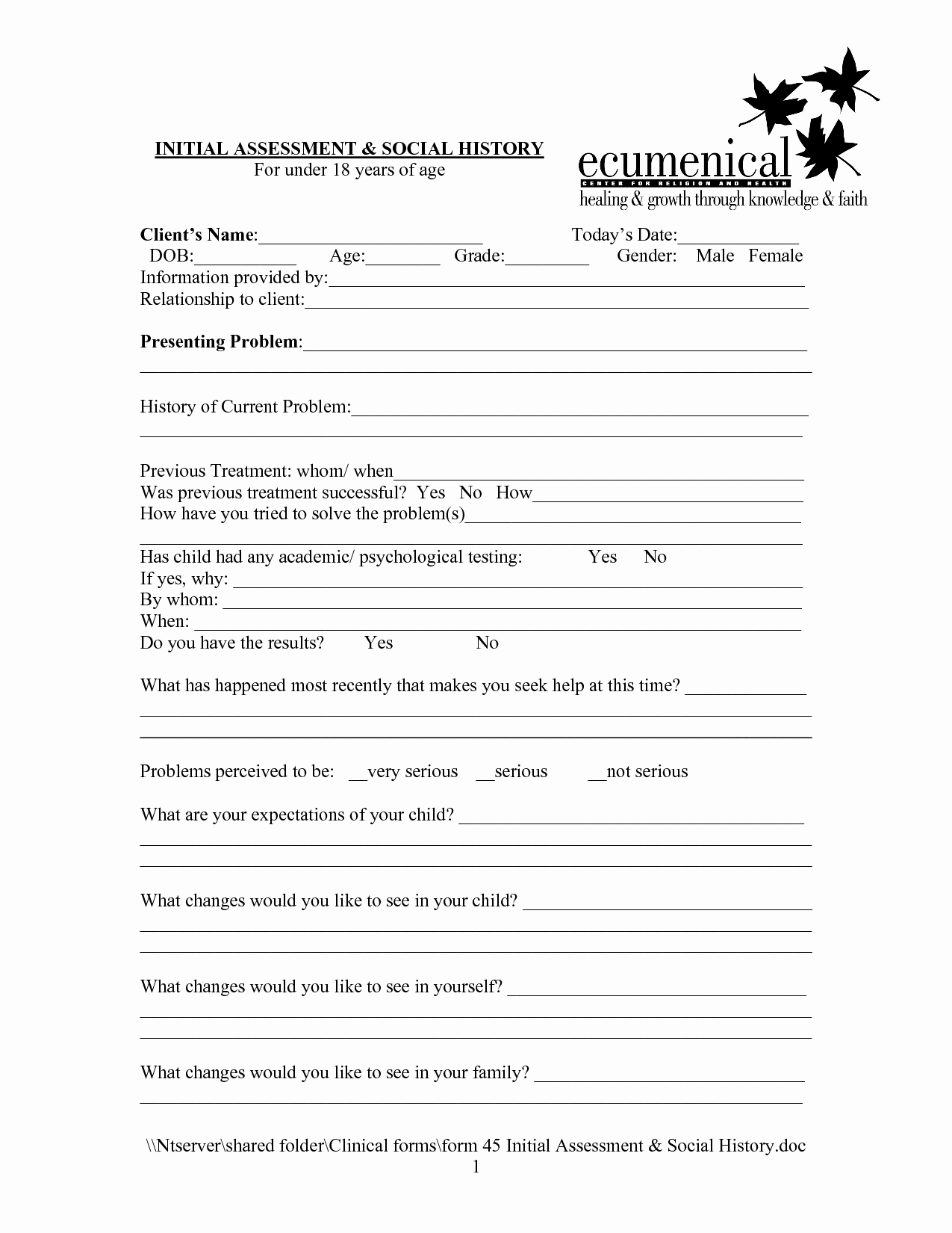 Counseling Intake form Template Lovely social Work Intake form Template Google Search