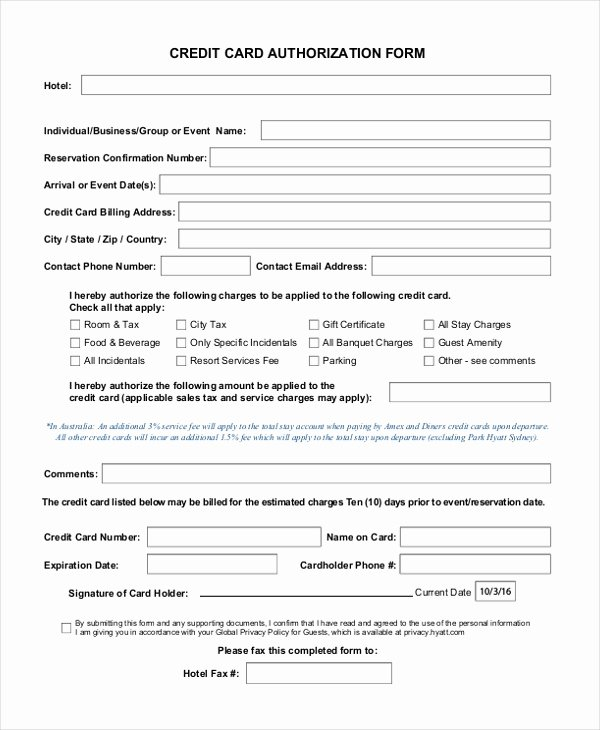 Credit Card Authorization form Word Awesome Sample Credit Card Authorization form 12 Free Documents