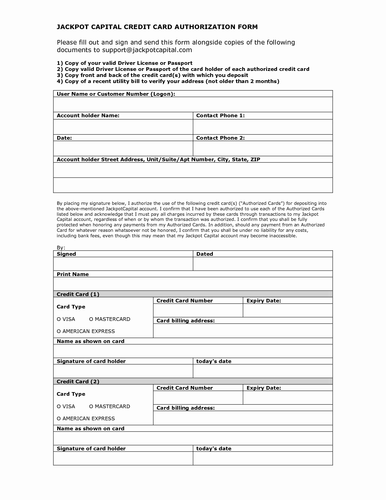 Credit Card Authorization form Word Unique Credit Card Authorization form Template