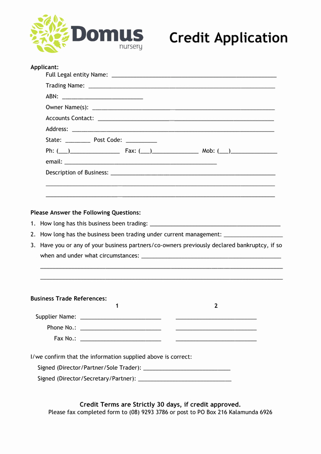 6 credit application forms