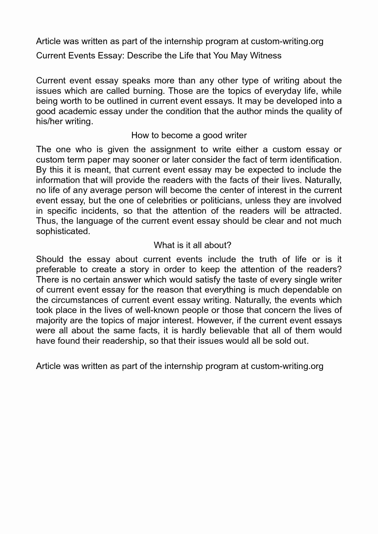 Current events Paper Outline Elegant 53 event Essay topics 100 College Application Essay