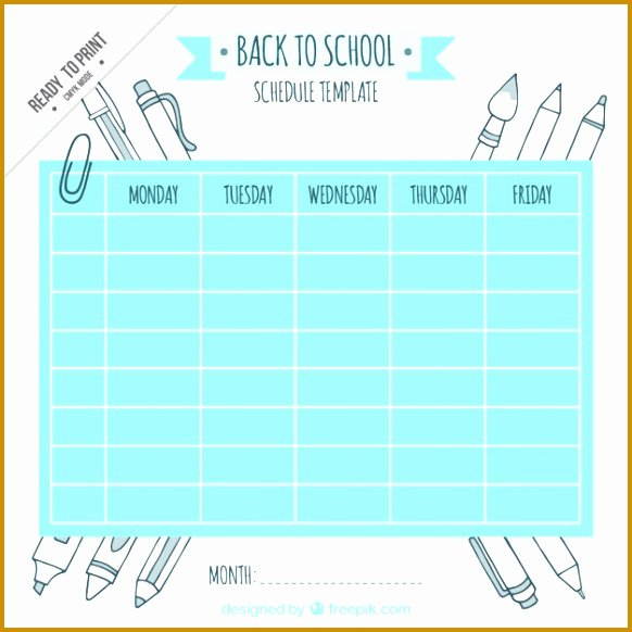 monthly class schedule template