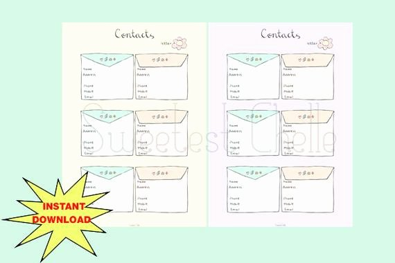 Cute Printable Address Book New Cute Printable A5 Page 2 Colours Printable Contact List