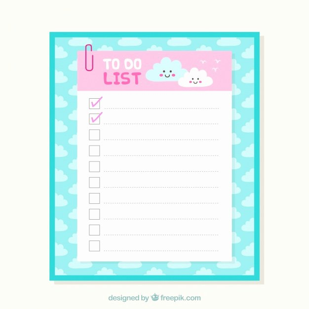 Cute to Do List Template Word Fresh Cute Checklist Template with Clouds In Flat Design Vector