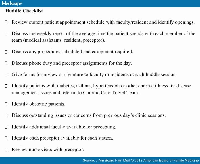 Daily Huddle Template Luxury Implementing Teams In A Pcmh Residency Practice