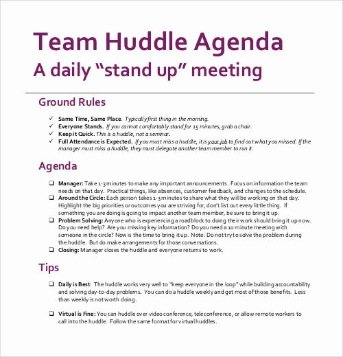 Daily Huddle Template Unique Sample Agenda Template 41 Download Free Documents In