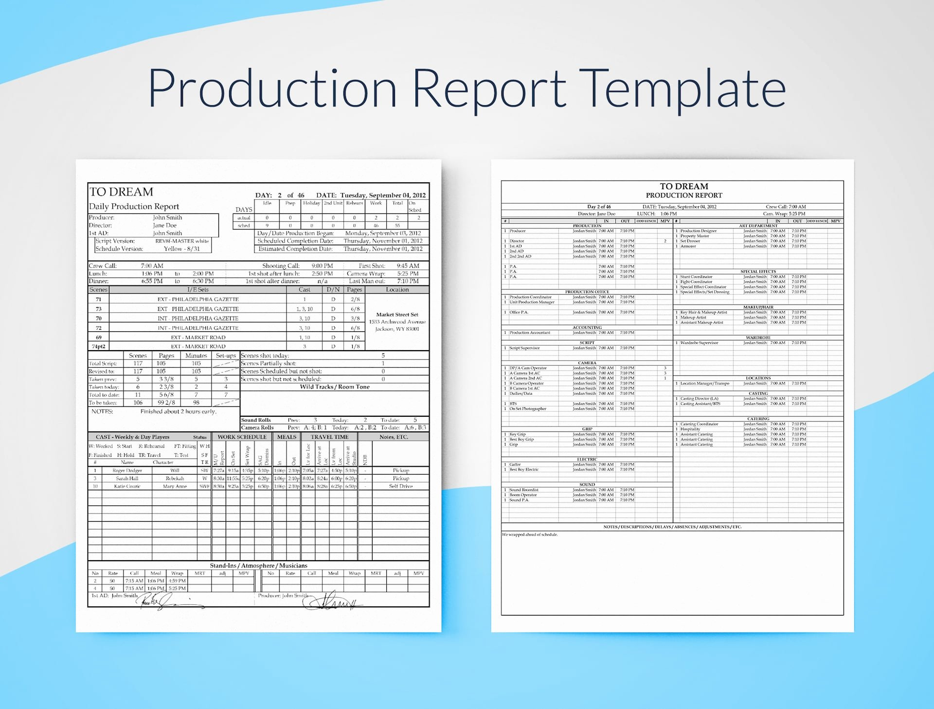 free daily production report template excel