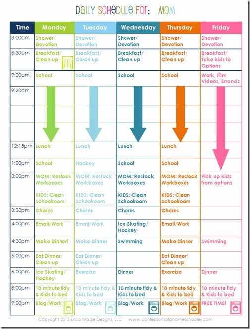 a homeschooling moms daily schedule