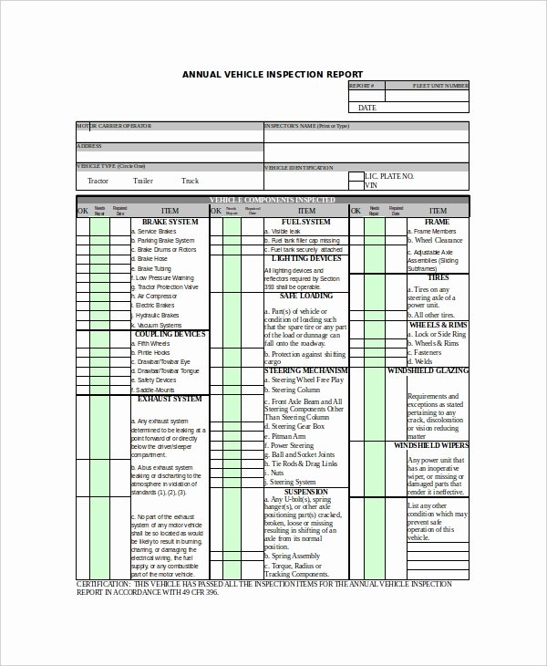 Daily Vehicle Inspection Report Template Inspirational 49 Report Templates Free Sample Example format