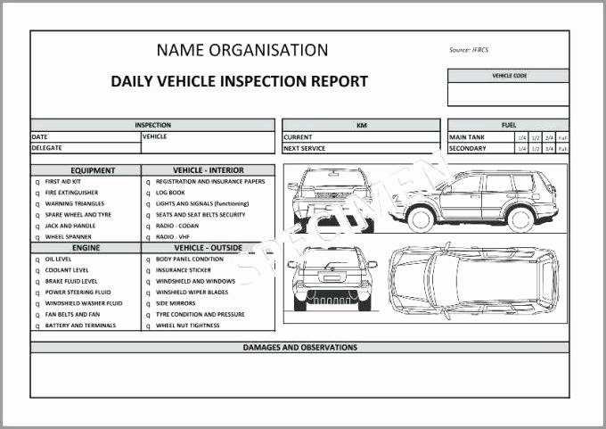 Daily Vehicle Inspection Report Template Luxury Daily Vehicle Checklist Template Excel