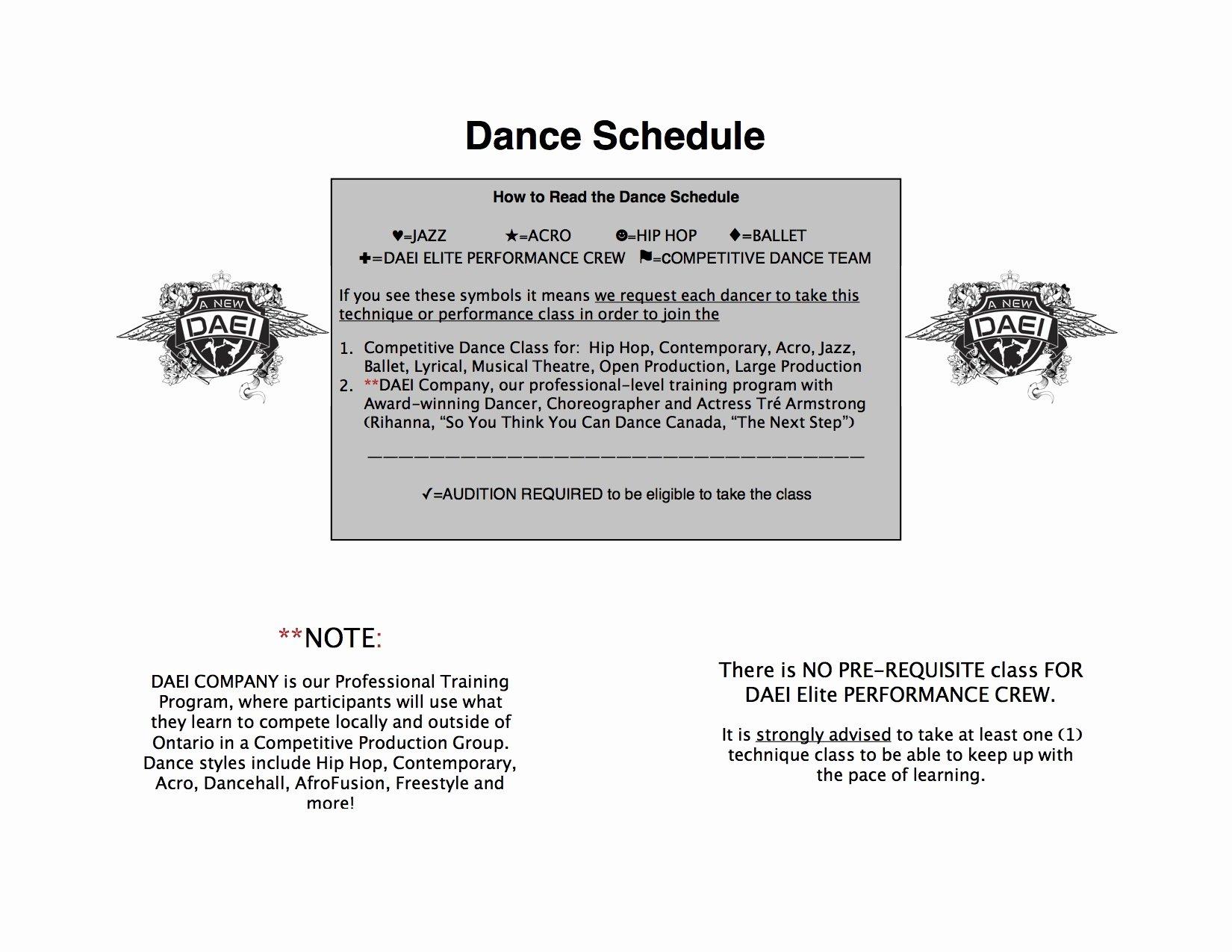 2016 2017 dance schedule