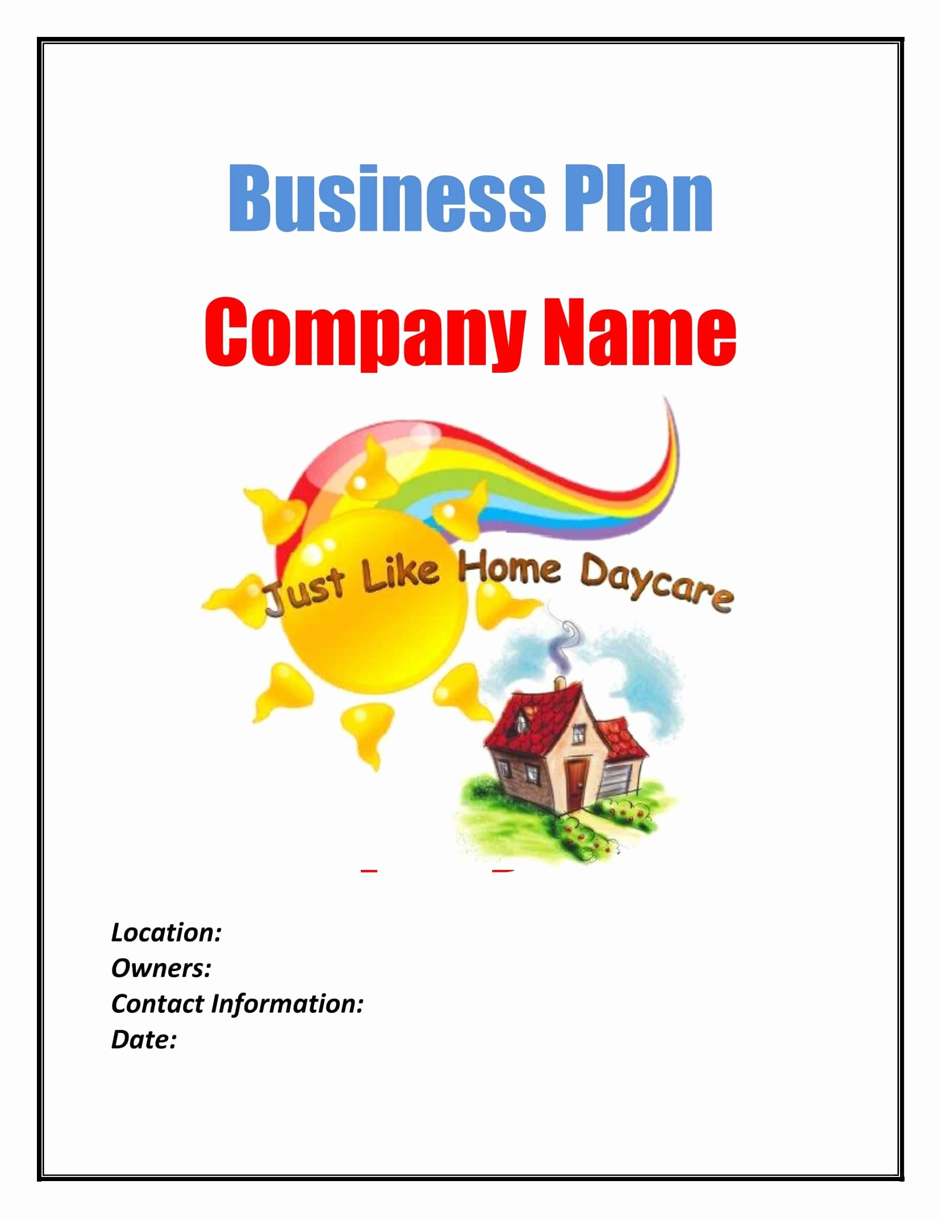 Daycare Business Plan Template Free Download Elegant Day Care Business Plan Template Sample Pages Black Box