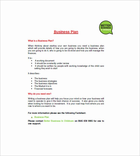 Daycare Business Plan Template Free Download Elegant Daycare Business Plan Template 14 Free Word Excel Pdf