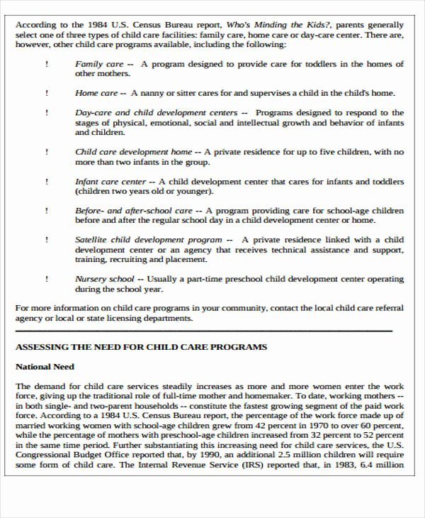 Daycare Business Plan Template Free Download Lovely 8 Child Care Plan Templates Word Pdf format Download