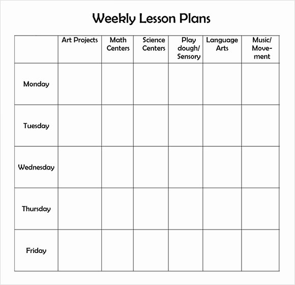 Daycare Lesson Plan Template Awesome 9 Sample Weekly Lesson Plans