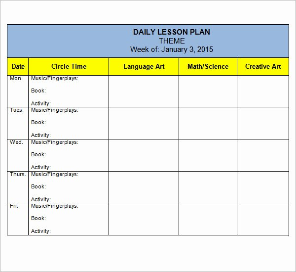 Daycare Lesson Plan Template Best Of Preschool Lesson Plan Template 10 Download Free