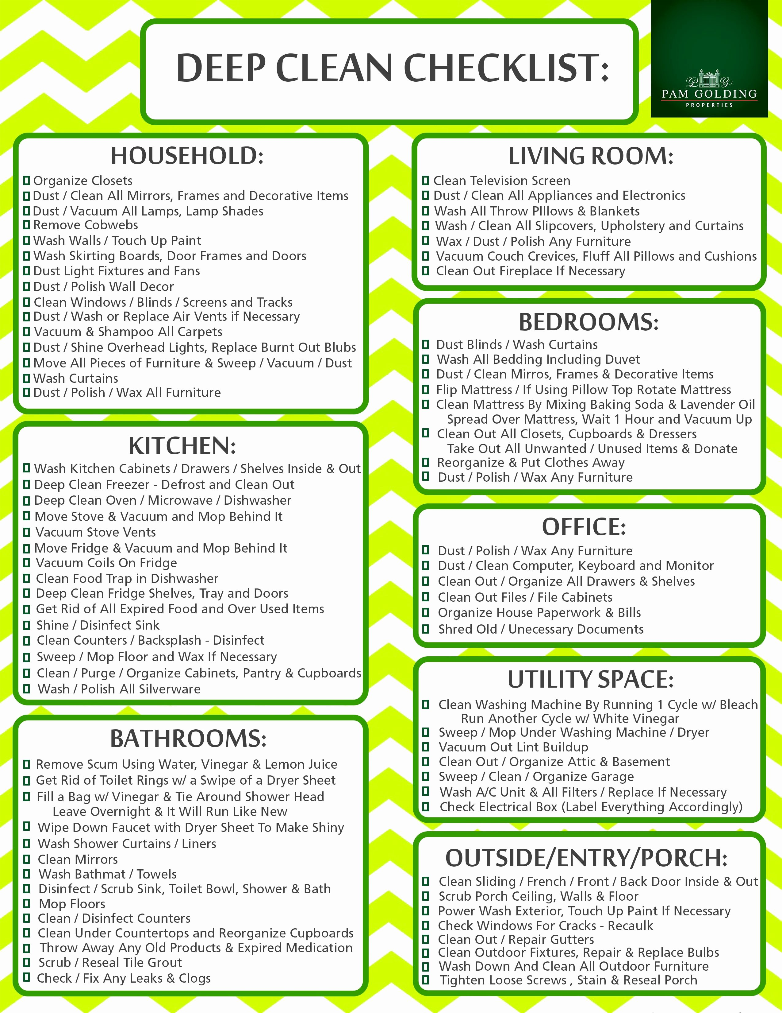 Deep Cleaning Checklist for Housekeeper Unique Click the Image to Print Your Deep Clean Checklist