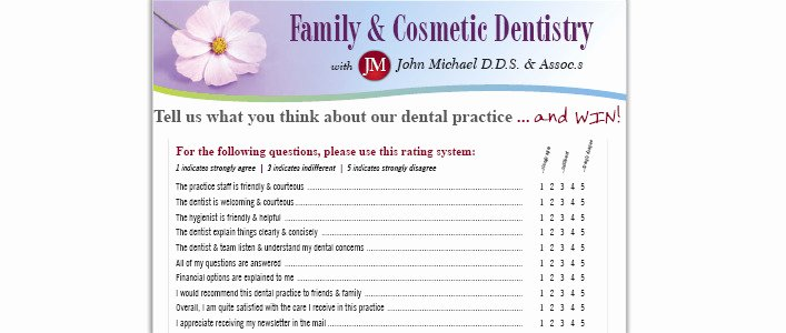 dental patient satisfaction survey questionnaire