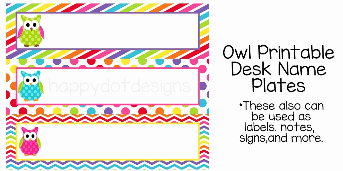 printable rainbow owl desk name plates