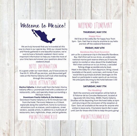 destination wedding itinerary