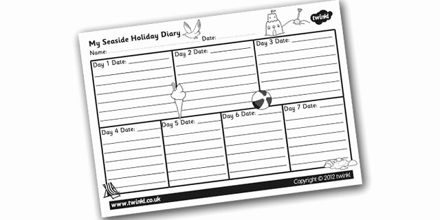 Diary Entry Template Word New the Seaside My Seaside Holiday Diary Template