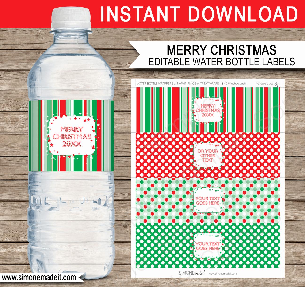 Diy Water Bottle Label Template Elegant Printable Christmas Water Bottle Labels Template
