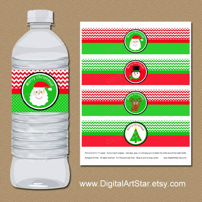 Diy Water Bottle Label Template Inspirational Christmas Water Bottle Label Template Kids Christmas Party