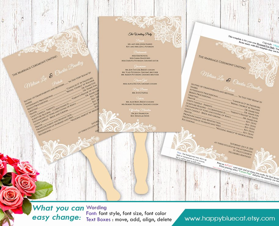 Diy Wedding Program Fan Templates Awesome Diy Printable Wedding Fan Program Template Instant Download