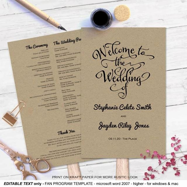 Diy Wedding Program Fan Templates Awesome Modern Rustic Diy Wedding Program Fan Template