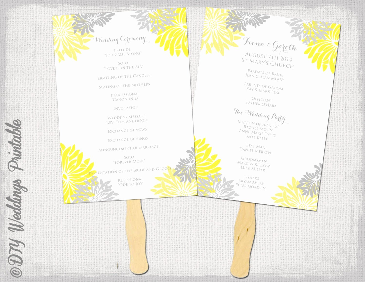Diy Wedding Program Fan Templates Awesome Wedding Fan Program Template Flower Burst Yellow