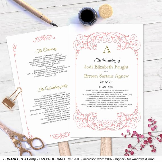 Diy Wedding Program Fan Templates Beautiful Coral Diy Fan Program Template Editable Text Wedding
